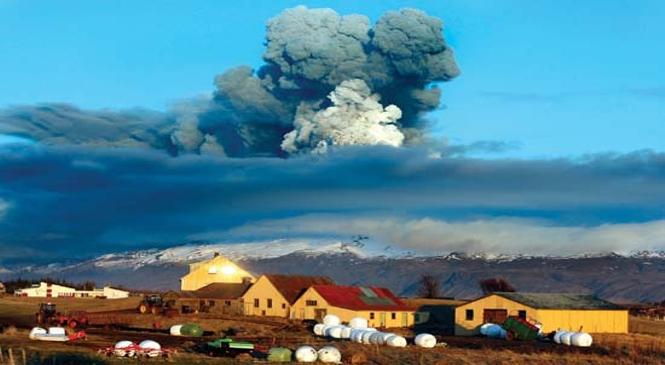 The Eyjafjallajokull volcano in Iceland